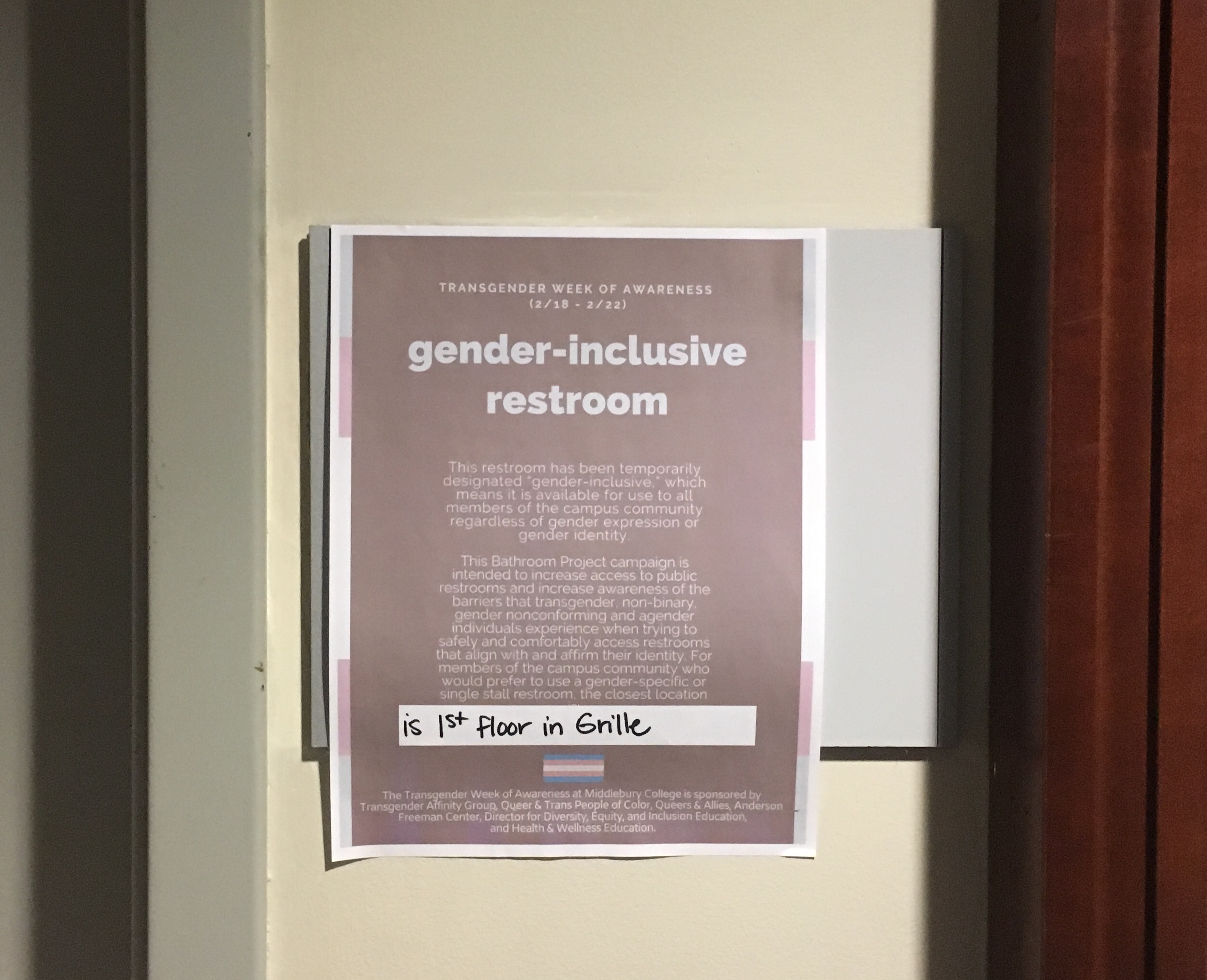 College Proudly Announces End of Transgender Awareness Week