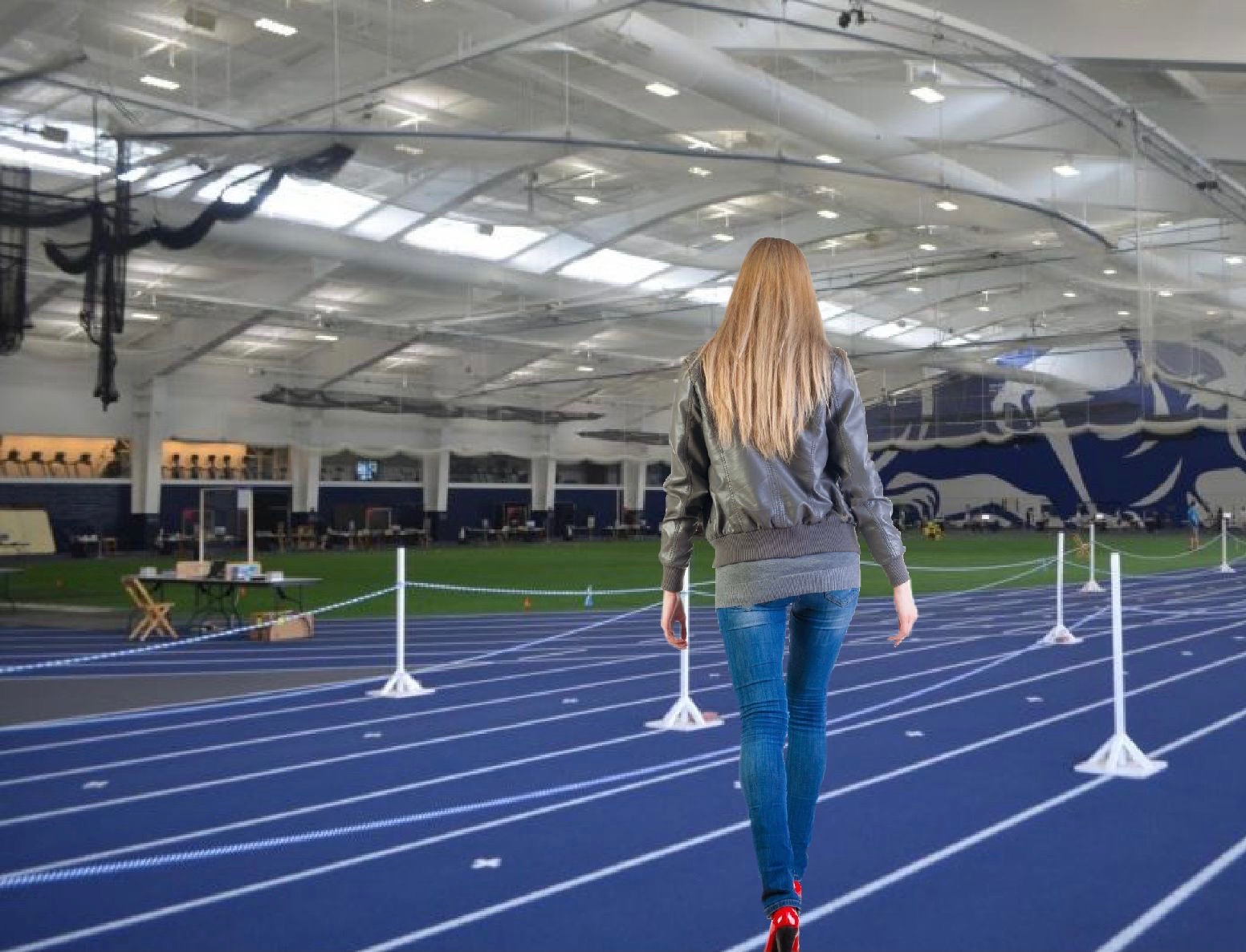 Virtue Field House Track Converted to Runway, Students to Showcase the Covid Testing Outfits They've Been Planning all J-Term